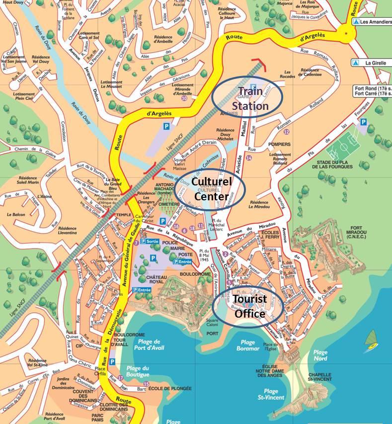 Plan Centre Ville Collioure